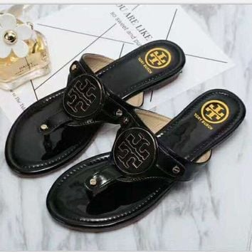 """Tory Burch"" Fashion Ladies Summer Beach Leisure Sandal Slipper Shoes Black I"