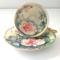 Vintage Handpainted Footed Napco China Teacup and Saucer Downton Abbey Inspired Tea Party