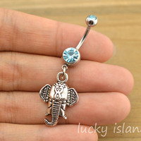 belly ring,elephant belly button rings,navel ring,elephant bellybutton jewelry,friendship bellyring