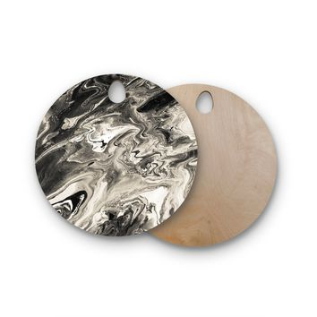 "Iris Lehnhardt ""Marble - Black White;"" Black White Abstract Pattern Painting Round Wooden Cutting Board"