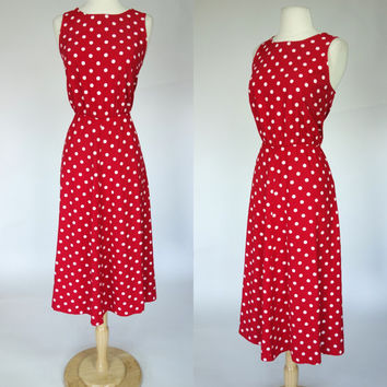 1980s red polka dot dress, sleeveless A line rayon elastic waist long summer spring dress, My Michelle, Large, XL