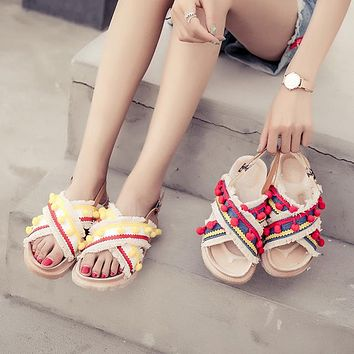 Vintage Sandals Shoes Female Women Ethnic Style
