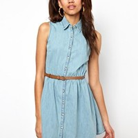 River Island Belted Denim Skater Dress at asos.com