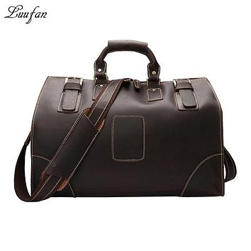 Men Crazy Horse Leather travel bag large capacity women travel duffel Cowhide weekend luggage bags travel handbag