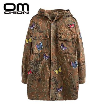 New Casual Loose Embroidery Hooded Jacket Appliques Long Sleeve Zipper Women Jacket