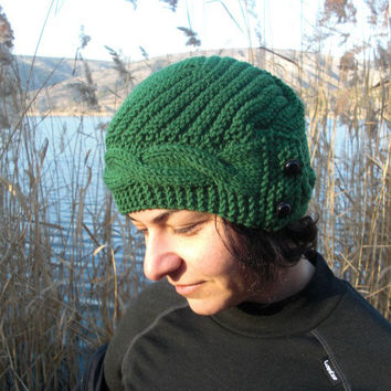 Hand Knit Hat- winter hat - Womens hat Cloche hat in Pine Green Winter Accessories Fall Autumn Winter Fashion Womens Beanie