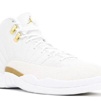 PEAPN Ready Stock Nike Air Jordan 12 Retro Ovo White Metallic Gold White Basketball Sport Shoes