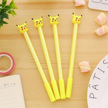 DCCKL72 2017 New Arrive 0.3mm Cute Kawaii Pikachu Plastic Gel Pen Lovely Pokemon Go Pen For Kids Korean Stationery