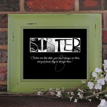 Sister Quote Art, Sister Quote Print, Gift for Sister, Sisters are like Stars, Sister Gift, Sister in law gift, Big Sister Gift