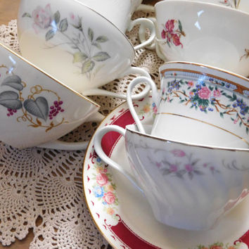 Mismatched China Teacups and Saucers Set of 8