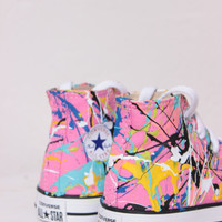 Toddler Pink High Top Splatter Painted Converse Sneakers Toddler Size 6, Pink Punk Colors