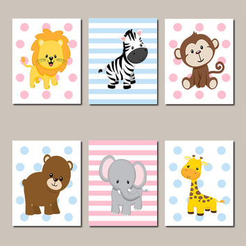 JUNGLE Nursery Wall Art Jungle Animals Art ELEPHANT Giraffe Zebra Boy Girl Twins Nursery Decor Zoo Safari Animals Set of 6 Prints Or Canvas