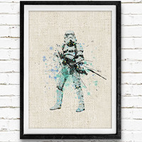 Star Wars Poster, Stormtrooper Watercolor Art Print, Kids Bedoom Decor, Minimalist Home Decor, Not Framed, Buy 2 Get 1 Free!