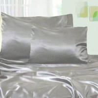 Twin Size Silver Grey Soft Silk Satin Bed Sheet Set