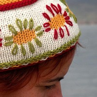 Hand Knit Joyful Topper Sunny Flower Fez by ArzuMusaKnitting