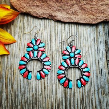 Red & Turquoise Squash Blossom Earrings
