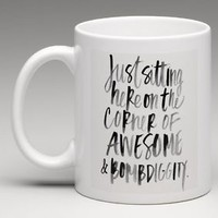 SITTING ON THE CORNER OF AWESOME & BOMBDIGGITY 11oz. Coffee Mug Tea Cup Gift