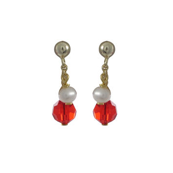 6mm Red Preciosa Bead And 4mm Freshwater Pearl On Gold Tone Sterling Silver Ball Post Earrings -0.80