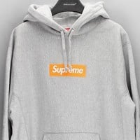 Supreme Trending Unisex Personality Women Logo Print Casual Hoodie Long Sleeve Sweater 8-Color Grey I-CN-CFPFGYS