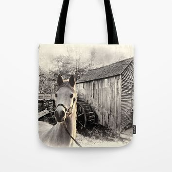 Horse At The Old Mill Tote Bag by Theresa Campbell D'August Art