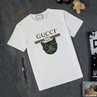 GUCCI Casual Round Neck Print Short Sleeve T-Shirt
