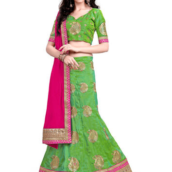 Women's Pretty A Line Lehenga Style in Parrot Green With Mirror Work Dupatta