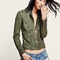 Doma Womens Doma Green Hood Leather Jacket