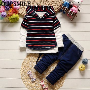 Baby boy clothes cotton stripe hoodies +shirt+jeans pants newborn boy clothes baby clothing set roupas de bebe