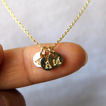 personalized monogram initial letter disc necklace, 18K gold plated necklace, tiny charm on fine chain, best gift for her, best friend gift,