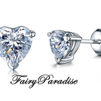 Heart cut earrings,Total 1.6 ct ( each 0.8 ct ) man made diamond in 925 sterling silver, Studs, Free gift box, Valentines day, FairyParadise