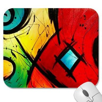 Funky Bright  Abstract Art Painting Mouse Pads from Zazzle.com