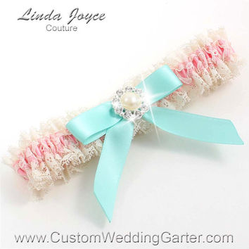 Pink and Ivory Lace WEDDING GARTER Silver Pearl Garter 151 Peony Pink 314 Aqua Blue Mint Prom Garter Plus Size & Queen Size Available too