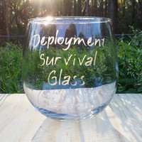 Stemless Deployment Survival Wine Glass, Personalized Military Gift, Military Humor