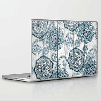 Navy Blue Floral Doodles on Wood Laptop & iPad Skin by micklyn