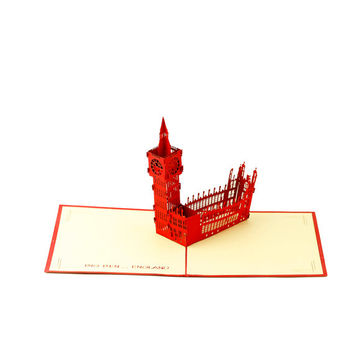 Paper Pop-up card with a Big Ben,Love Card,Get Well Card,New Year Card,Birthday Card,Thanksgiving Card,Congratulation Card