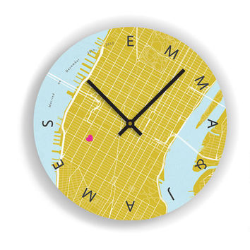 Personalized Anniversary Map Art Wall Clock - Wedding Gift - Anniversary Gift - Unique Large Contemporary Art Wall clock -