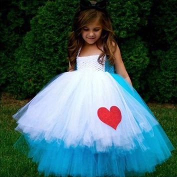 Alice in Wonderland princess evening dress girls blue white handmade crochet TuTu dress 2016 summer designer handmade Customize