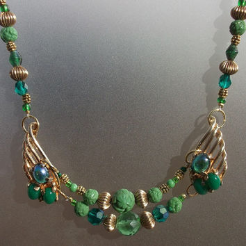 Emerald Green Gold Assemblage Statement Bead Necklace