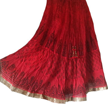 Long Bollywood Red Skirt, Indian Maxi Skirt, Belly Dance skirt,Gypsy Skirt, Boho Skirt,Skirt with Golden border, Double Printed border Skirt
