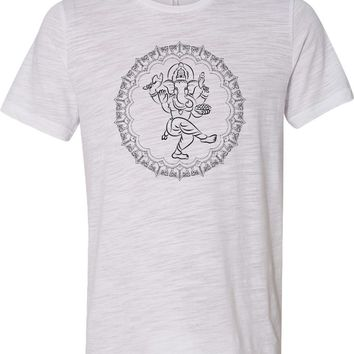 Yoga T-shirt Circle Ganesha Black Print Burnout Tee