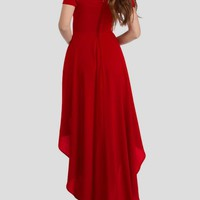 Red Draped Bandeau Irregular High-low Backless Elegant Maxi Dress
