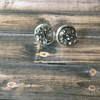 Silver Druzy Earrings Faux Silver Druzy Stud Earrings Sparkly Silver Druzy Earrings Faux Silver Druzy Earrings Sparkly Earrings (E338)