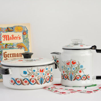Vintage Berggren Enamel Set - Cook Pot & Coffee Pot - Percolator - Floral - Folk Art