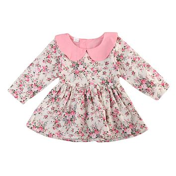 Flower Cute Tutu Mini Dresses Floral Outfit Dress Girl Clothes Cute Kid Infant Baby Girls Clothing Dress Sleeve
