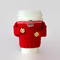 Huskers coffee cozy. Nebraska college football. Red white. Coffee warmer. Huskers jersey Travel mug cozy Office coffee Starbucks cup sleeve.