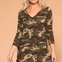 Deb Camo V-Neck Top