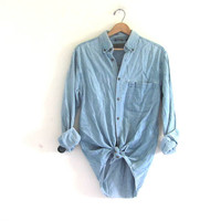 vintage washed out denim shirt. jean shirt. button down shirt. oversized denim boyfriend shirt