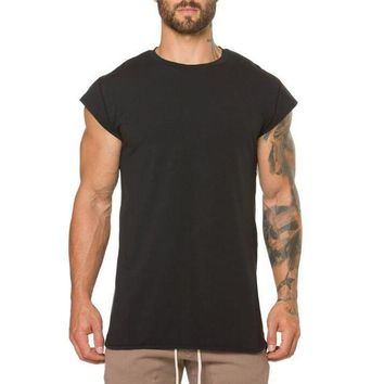 DCCKFS2 Brand clothing fitness t shirt men fashion extend long tshirt summer gyms short sleeve t-shirt cotton bodybuilding crossfit tops