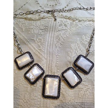 Vintage Genuine Mother of Pearl silver finished Necklace