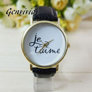 GENVIVIA Fashion Wrist watches Women Leather Quartz Letter Dress Watches relojes mujer bracelet watch Cheapest watch